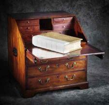 Mahogany fall-front bureau believed to have been used by Captain Cook on his Pacific voyages