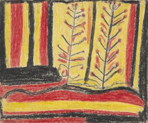 Crayon Drawing titled 'Desert Landscape', by Abe Jangala