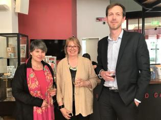 (Left to right) Laura Millar (Canada), Ros Russell, and Mark Crookston (New Zealand) after the Summit at Canberra Museum and Gallery, 4 December 2018.