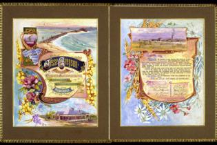 Illuminated address presented to Jesse Gregson on his retirement after 30 years as General Superintendent of the Australian Agricultural Company in March 1905