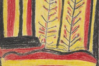 Crayon Drawing titled 'Desert Landscape', by Abe Jangala