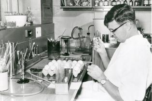 Professor Frank Fenner in the laboratory. Australian National University Archives